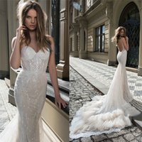 Wholesale Berta Bridal Mermaid Wedding Dresses Spaghetti Sweetheart Neckline Backless Sequins Bridal Gowns With Detachable Train Wedding Gown
