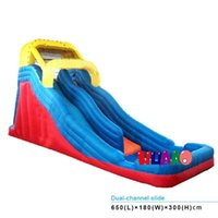 water slide - super double slide backyard inflatable bouncers water slides for kids
