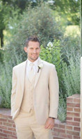 dress suit for men - Customize groom dress men s clothes Light Beige suitable for wedding the groom holds the classic suit man Jacket Pants Tie Vest