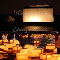 Cheap 10pcs Retro Chinese Square White Paper Party Decoration Wishing Floating River Water Yellow Candle Lanterns Lamp Light Universal