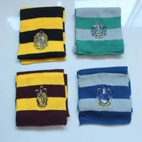 Wholesale 4 color Harry Potter Scarves School Unisex Striped Gryffindor Scarf Harry Potter School Scarf with badges
