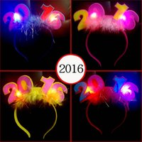 big happy hair - 2016 Happy New Years Light Up Feather Headband Led Flashing Blinking Light Fun Party Decoration Led Rave Hair Accessories Toy
