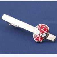 Wholesale Statement Super Hero Red Black Spiderman Tie Clips Men s Jewelry Tie Clips Marvel Avengers Metal Tie Clips Accessories Movie Jewelry
