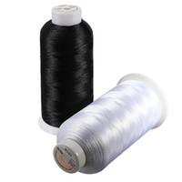 Wholesale Top Quality m Cones Polyester Bobbin Thread Filament for Embroidery Machine Household Black and White Color
