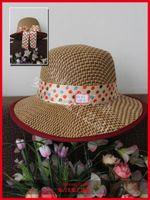 bamboo canopy - Large Canopies Women Visor Sun Hats Beautiful Color Bamboo Dot Ribbon Decorations Visors From China