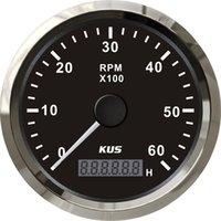 Wholesale 85mm tachometer SV KY07009 black faceplate red light stainless steel bezel KL rpm for marine turck