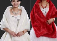 Wholesale 2015 New Spring Wedding Capes Long Thickin of White and Red Fur Dress Bridal Cape Personality Fur Warm Artifical Wool Wedding Cloak