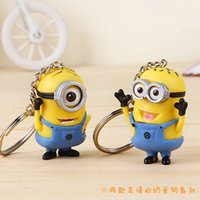 Wholesale 5 CM D Despicable Me Cartoon Minion Keychain Action Figure Key Ring Lover Keyring Minions Mobile Chain For Lovely Toys Christmas Gift