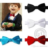 Wholesale Kids Solid Bowtie New Boys Children Pre tied Wedding Party Satin Bow Tie New Fashion Creative Hot Sell Cute Wedding Supplies