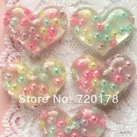 bathroom decorating colors - 600pcs Mixed colors in stock X0 BIG clear PEARL HEART to decorate Resin Decoden Flatback Kawaii Cabochon craft REY385