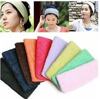 Wholesale Absorb Sweat Yoga Hair Lead Cloth Towels with wide hair scarf Candy color 1PIECE
