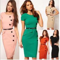 Wholesale Women Formal Pinup Bodycon button short sleeve Work Dresses fashion hip slim mini dress Plus Size Dresses close fitting one piece dress