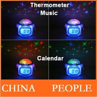 Wholesale Music Starry Alarm Projection Clock Star Sky Calendar Thermometer with retail package Dropshipping Best gift