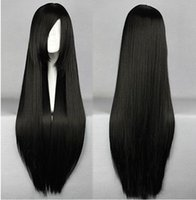 Cheap 80CM Heat Resistant High quality Cosplay Anime Wig Yong Long Straight Synthetic Hair Black Party Wigs free wig cap,NEW