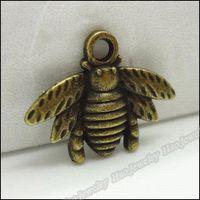 bee bronze - 80pcs Vintage Charms Bee Pendant Antique bronze Fit Bracelets Necklace DIY Metal Jewelry Making