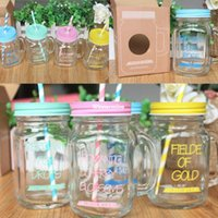 Wholesale 1509 One Pieces sell Colors Can choose Mason Jar Glass Bottle With Free Gift Straw ml Beverage Water Glass Wedding Decor
