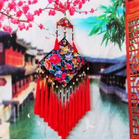 Wholesale Chinese Ethnic Embroidered Household Hanging Decoration Big Size Home Décor Tassel Tapestries Wedding Hangings Cloth Wood Bead Bell