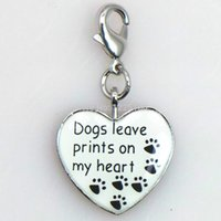 allow dogs - Fashion metal heart animal dangle charm enamel dog paw print charms for necklace and bracelet s allowed