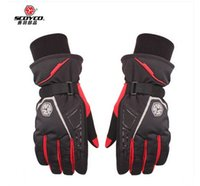 motorbike gloves - 2015 New Scoyco waterproof warm motorcycle gloves MC21 Moto cycling racing gloves motorbike gloves of leica black red blue size M L XL XXL