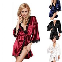 Wholesale 151206 New Sexy Lingerie Hot Women Lace Bathrobe Plus Size Langerie Babydoll Sleepwear Nightgown Colors For Lady