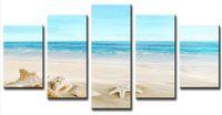 Топ-рейтинг Большой HD Печать холст для гостиной Морская звезда Shell Blue Sea, 5 панели Wall Art Picture / Фото Живопись Картины F / 847
