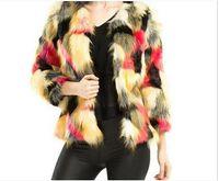 Wholesale Winter Fashion Luxury Faux Fur Coat Mix Color Long Sleeve Female Shaggy Jacket Slim Long Fur Fourrure Female Parkas