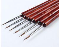 Al por mayor-Comadreja de madera roja del pelo Hook Line Línea de pintura de la pluma de la pluma de la acuarela Cristalizar línea fina pluma elástico grueso de madera roja 6pcs / set