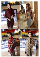 Wholesale Scarves Scarfs Wraps Scarf Wrap Shawl Plaid Cozy Checked Beige Women Blanket Oversized Tartan Scarf