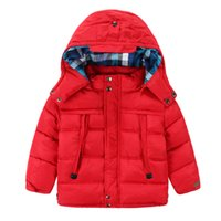 full zip hoodie - 2015 Autumn Winter New Style Boy Cotton Jackets Solid Polyester Thicken Coats For Children Paild Lining Zip Kids Hoodie Coats CR205
