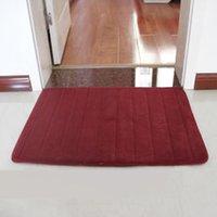 Wholesale Burgundy Color DTY Microfiber Memory Soft Foam Bathroom Shower Mat Doormat Water absorbing Non slip Rug