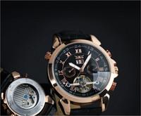 Prezzi Maglia cielo giallo-Uomini caldi del cuoio guardano numero d'oro mens immersione meccanici risalgono automatico orologi sportivi di lusso JARAGAR epacket