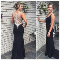 Wholesale Classic Women Dresses For Wedding - See Though Back With Shining Crystal Prom Dresses 2016 Sexy V Neck Black Chiffon Beaded Wedding Party Gown Occasion Dresses For Women