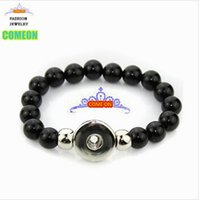 acrylic rhinestone buttons - 2015 new black round glass beads snap button bracelet Fit mm Snap Button jewelry
