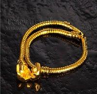 Wholesale 8inch MM K Gold Plated Snake Bracelet Charm Bracelet stamped pan dora Bracelet Fit Pan dora Bracelet