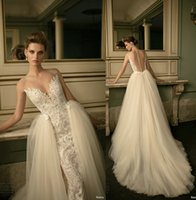 Wholesale 2016 berta bridal over skirts wedding dresses sheath ball gown lace embroidered sheer sweetheart neckline wedding gowns
