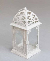 Wholesale Fashion candle holder house iron lantern baroque windproof candle holder for home decoration gift white retail