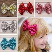 Cheap Free shipping summer princess hair accessories big sequin hair bow for girls baby hair clip 11 color option