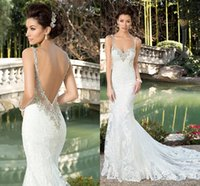 Wholesale 2017 Latest Spaghetti Straps Mermaid Wedding Dress Fashion White Slim Bridal Gowns With Lace Appliques Train Beaded Bridal Dress