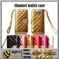 clip handbag - Channel Card slot color case flip cover stand pouch case for galaxy s5 PU wallet leather case for Iphone s plus
