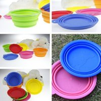 Wholesale Candy color Folding Dog Bowl Easy Take Pet Dog Cat Bowl Puppy Drinking Collapsible Outside Feeding Water Travel Bowl Dish Available Colors