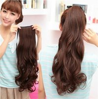 pony hair - Long Wavy Curly Ponytail Hair Wig Synthetic Hair Extension Pony tail Womens Drawstring Ponytail Hair many colors PT26