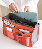 Wholesale 10 colors Bag in Bag Dual Insert Multi function Handbag Makeup Pocket Organizer Purse by DHLpcs