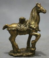 Wholesale New Chinese Pure Brass Folk Year Zodiac Wealth YuanBao On Jump Horse Statue Animals