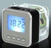 Wholesale Nizhi TT Mini Portable LED Crystal Loundspeaker Subwoofers Speaker Micro SD Card FM Radio MP3 Player Music Speakers DHL freeshipping ZKT