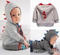 Cheap 2015 wholesale New Newborn Boy Clothes Baby Dinosaur Hoodies Pullover Infant Romper 0-24 Months