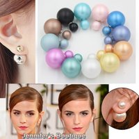 Wholesale New Arrival Mix Colors Double Sided Pearl Ball Matte Pearl cc Earrings Double Side Pearl Stud Earrings for Women Brinco