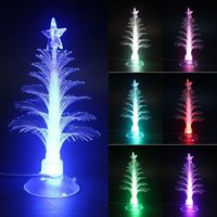 Cheap Mini USB Mutil Color Changing Optical Christmas Tree LED Light X'mas Tree Lamp
