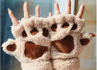 Wholesale Girls Women Girl Winter Fluffy Bear Cat Plush Paw Claw Glove Novelty soft toweling half covered gloves mittens christmas gift W3