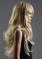 Wholesale Western Stylish Womens Sexy Long Natural Healthy Hair Wave Curly Blonde Wig Wigs