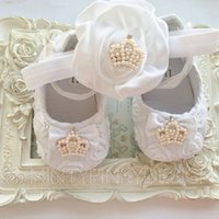 Wholesale White satin rosette flower headband baby lace shoes with crown set Christening baptism crib shoes newborn shoes princess shoes
